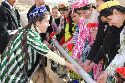 Tajikista Safe Water Project 1. School Children at Wash Stand in Kajikistan