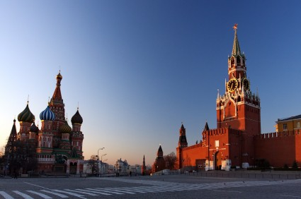 St. Basil's; The Kremlin at Moscow at Night from Red Square